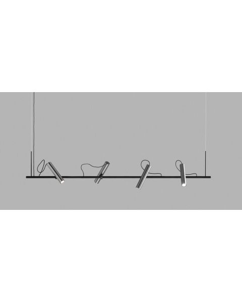 4er-LED-Pendelleuchte SPIRIT 150cm schwarz/titan