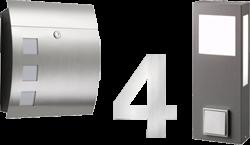 Briefkasten, Hausnummer, Außenlampe mit Steckdose